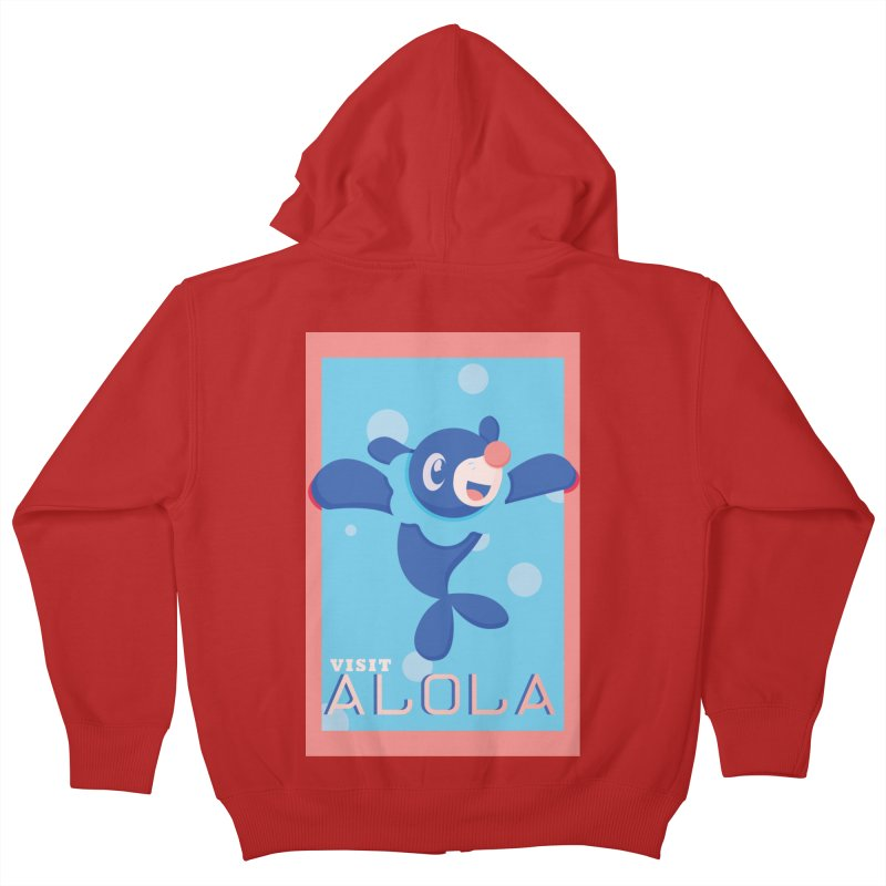 Visit Alola with Popplio ! Kids Zip-Up Hoody by jaredslyterdesign's Artist Shop