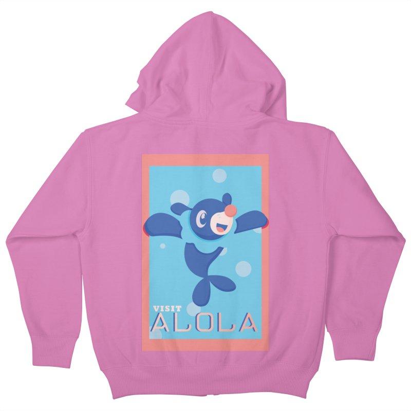 Visit Alola with Popplio ! Kids Zip-Up Hoody by jaredslyterdesign's Artist Shop