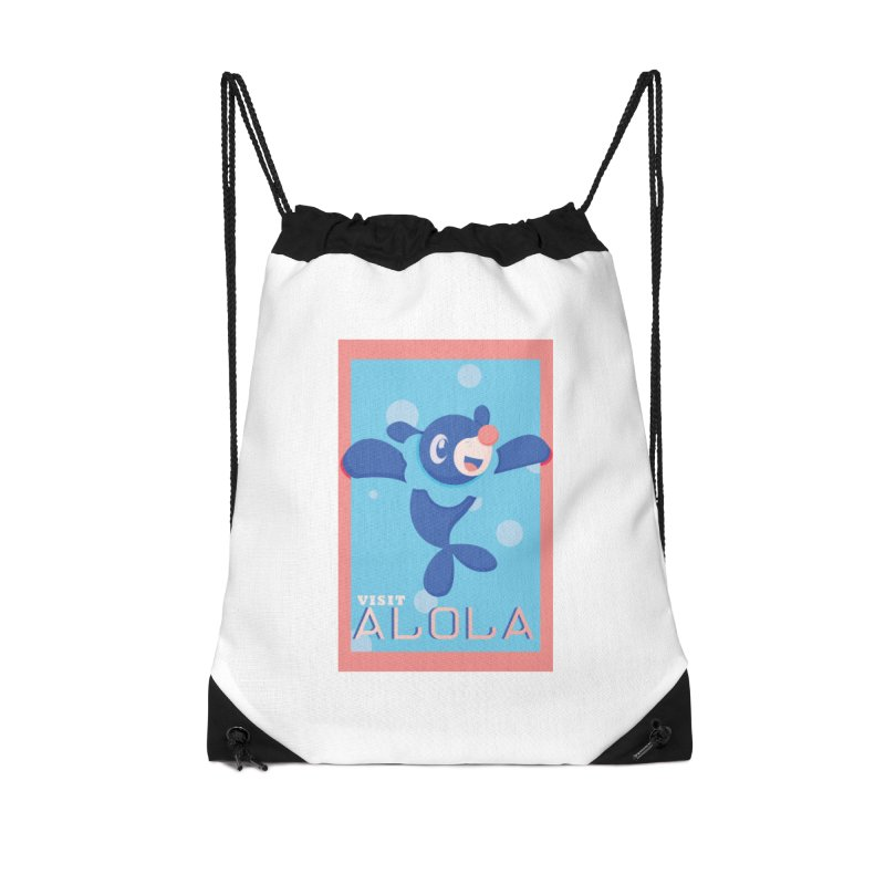 Visit Alola with Popplio ! Accessories Drawstring Bag Bag by jaredslyterdesign's Artist Shop