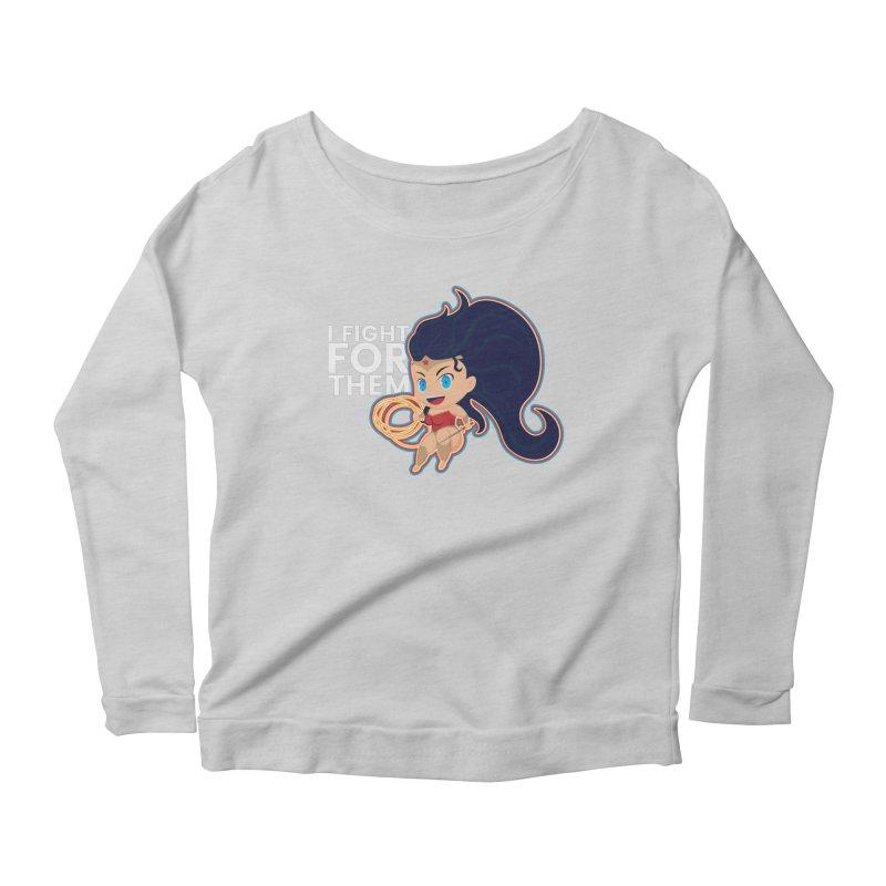 Wonder Woman : I FIGHT FOR THEM Women's Scoop Neck Longsleeve T-Shirt by jaredslyterdesign's Artist Shop