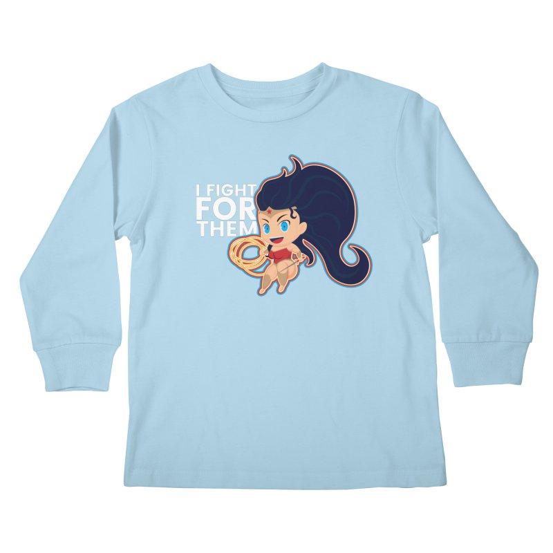 Wonder Woman : I FIGHT FOR THEM Kids Longsleeve T-Shirt by jaredslyterdesign's Artist Shop