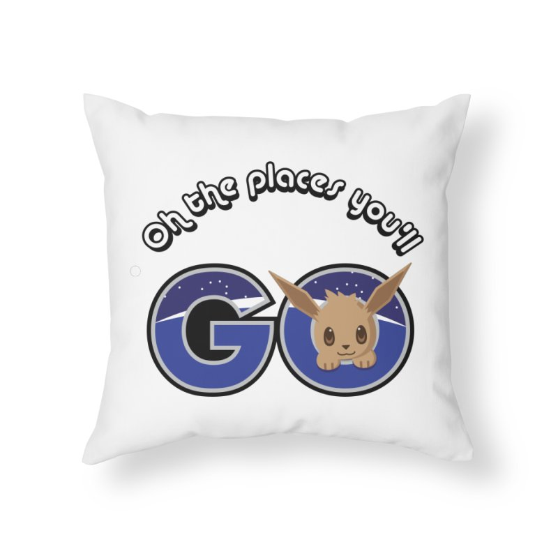 Oh the Places You'll Go ( with Eevee! ) Home Throw Pillow by jaredslyterdesign's Artist Shop