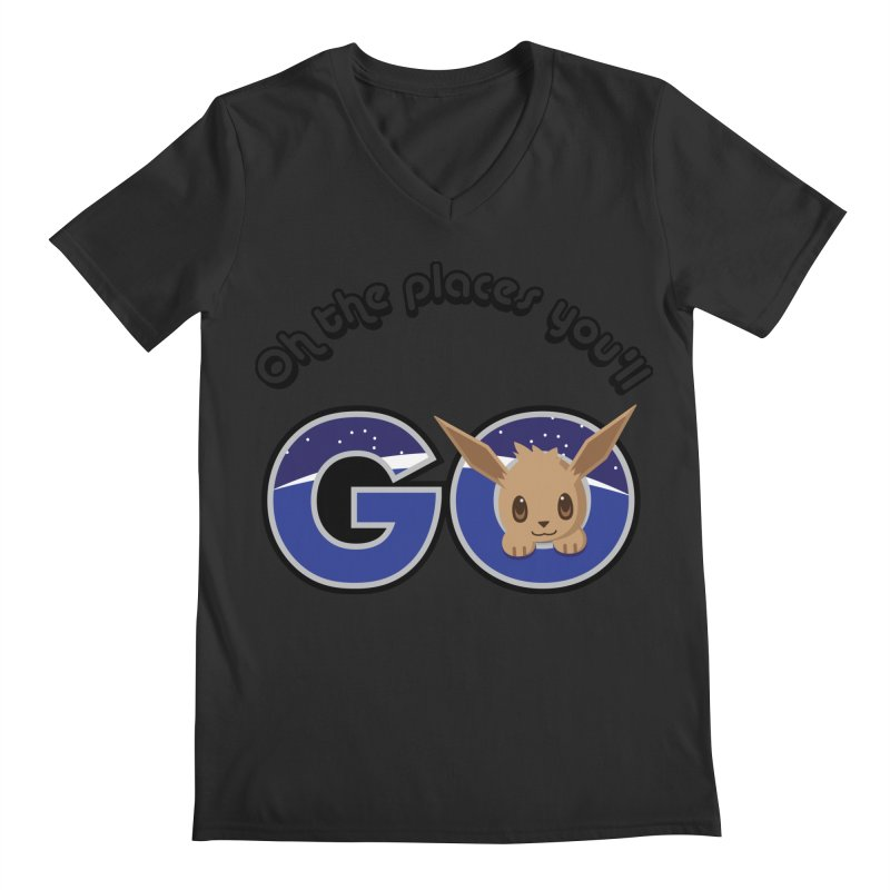 Oh the Places You'll Go ( with Eevee! ) Men's Regular V-Neck by jaredslyterdesign's Artist Shop