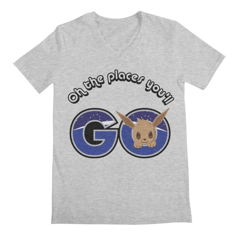 Oh the Places You'll Go ( with Eevee! ) Men's V-Neck by jaredslyterdesign's Artist Shop