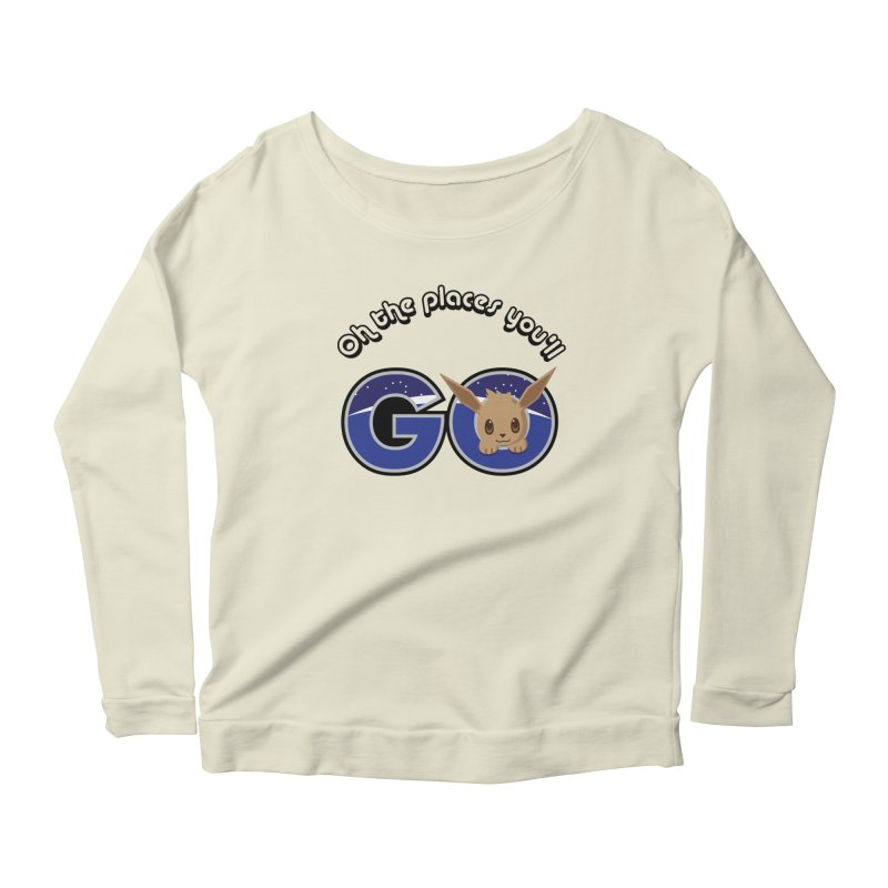 Oh the Places You'll Go ( with Eevee! ) Women's Longsleeve Scoopneck  by jaredslyterdesign's Artist Shop