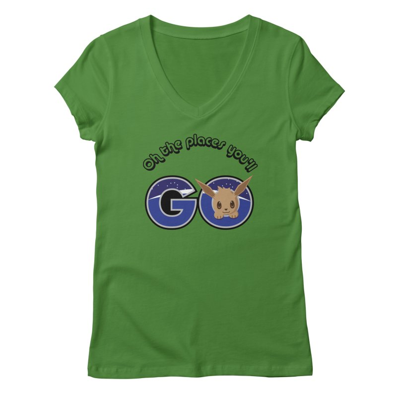 Oh the Places You'll Go ( with Eevee! ) Women's Regular V-Neck by jaredslyterdesign's Artist Shop