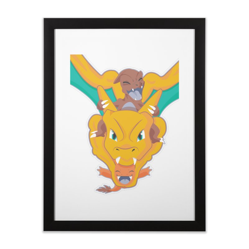 The Char Trio ( Charmander Charmeleon & Charizard) Home Framed Fine Art Print by jaredslyterdesign's Artist Shop