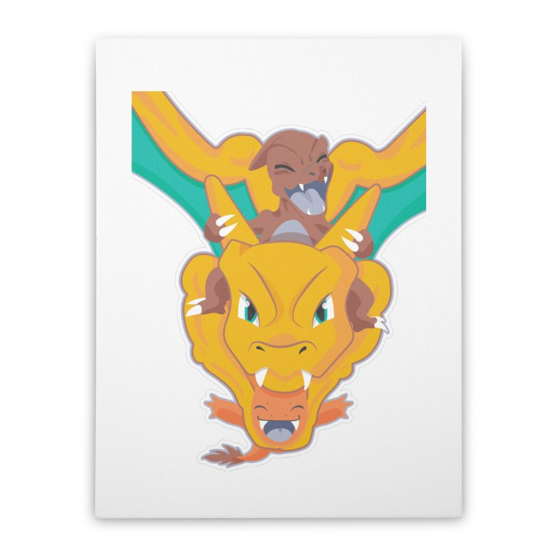 The Char Trio ( Charmander Charmeleon & Charizard) Home Stretched Canvas by jaredslyterdesign's Artist Shop