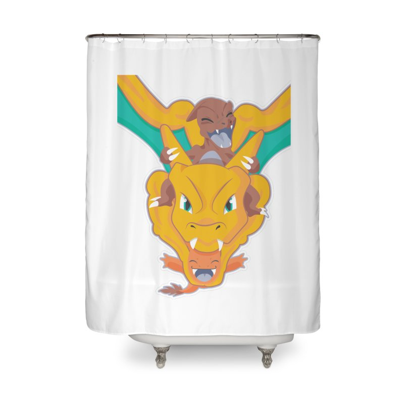 The Char Trio ( Charmander Charmeleon & Charizard) Home Shower Curtain by jaredslyterdesign's Artist Shop