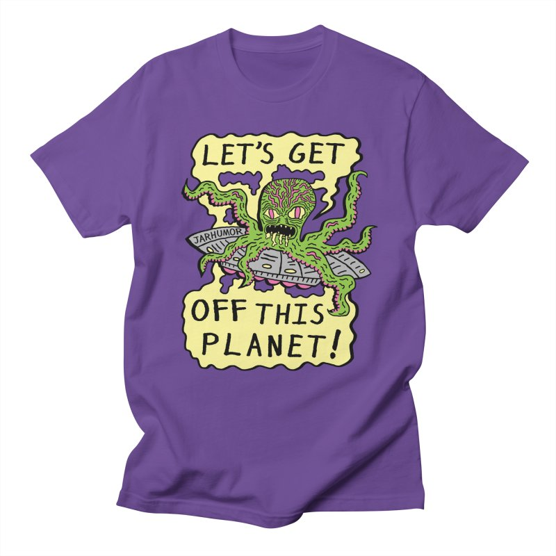 Alien UFO Escape in Men's T-shirt Purple by James A. Roberson (JARHUMOR)