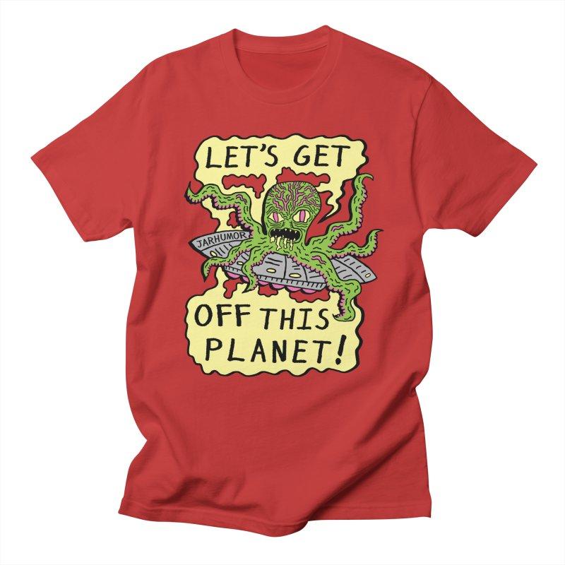 Alien UFO Escape Men's T-Shirt by JARHUMOR