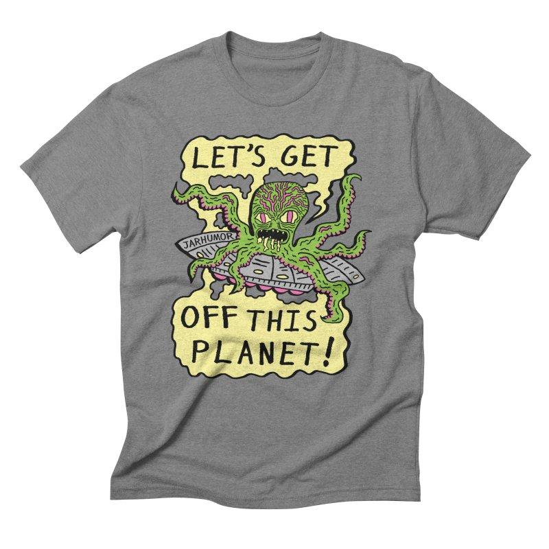 Alien UFO Escape Men's Triblend T-shirt by James A. Roberson (JARHUMOR)