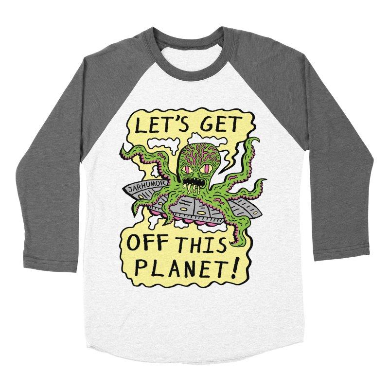 Alien UFO Escape Women's Baseball Triblend T-Shirt by JARHUMOR