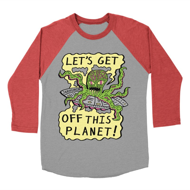 Alien UFO Escape Men's Baseball Triblend T-Shirt by James A. Roberson (JARHUMOR)