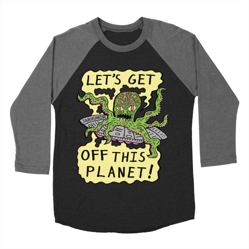 Alien UFO Escape Men's Baseball Triblend T-Shirt by JARHUMOR