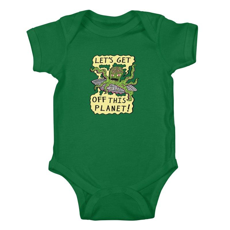 Alien UFO Escape Kids Baby Bodysuit by James A. Roberson (JARHUMOR)