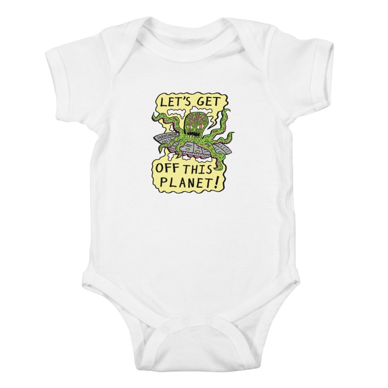 Alien UFO Escape Kids Baby Bodysuit by JARHUMOR