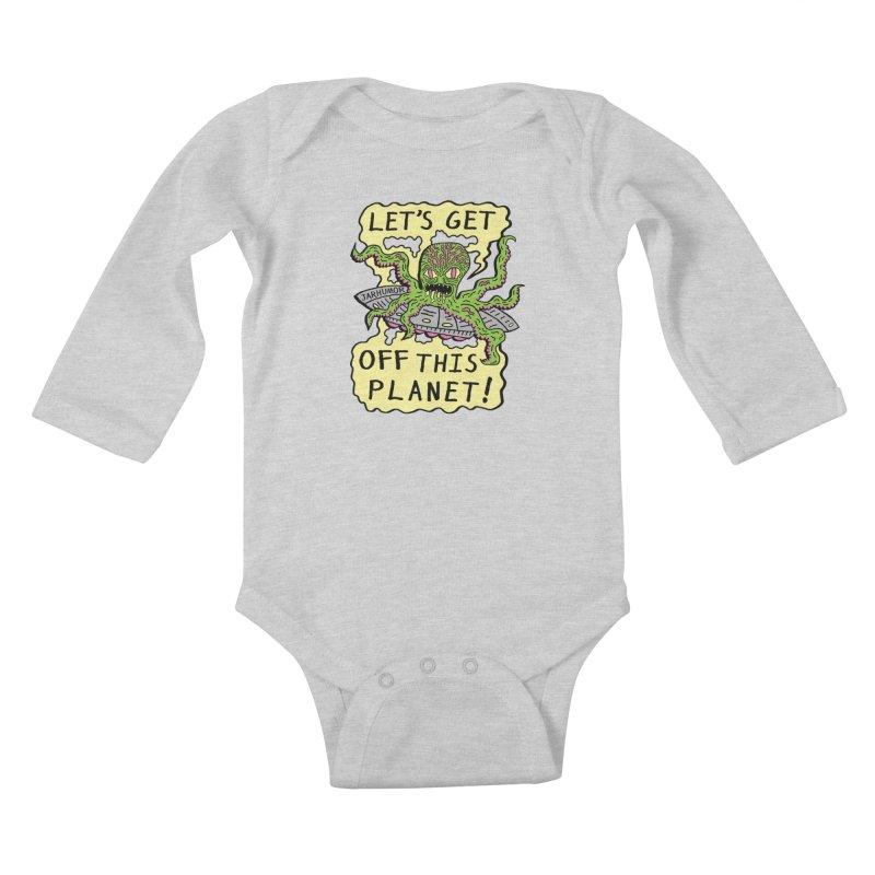 Alien UFO Escape Kids Baby Longsleeve Bodysuit by JARHUMOR