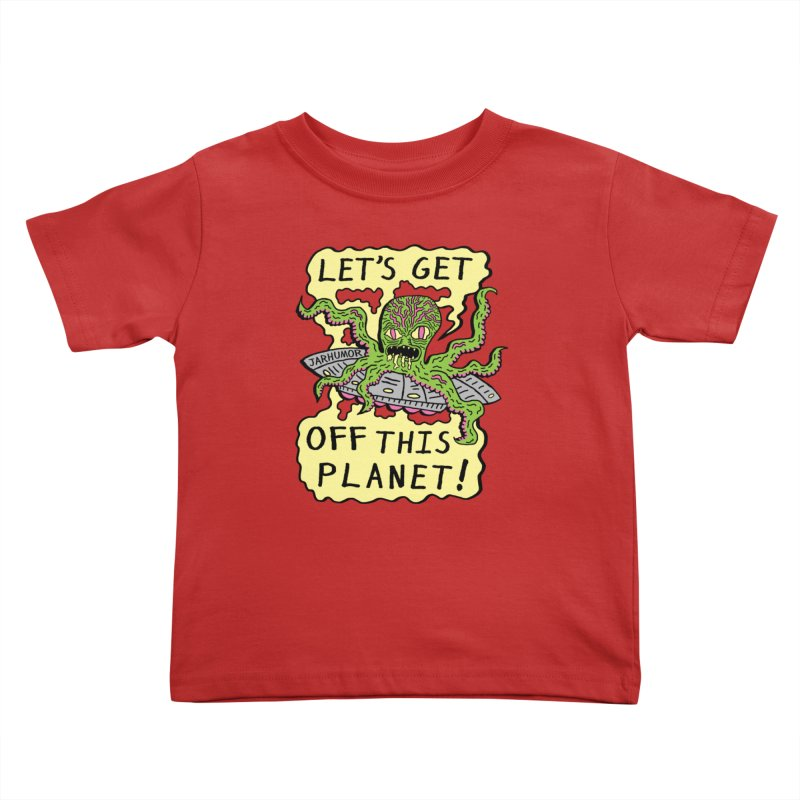 Alien UFO Escape Kids Toddler T-Shirt by James A. Roberson (JARHUMOR)