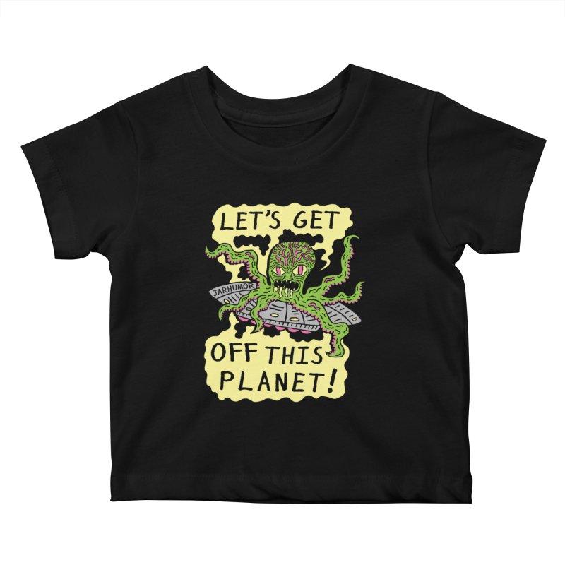 Alien UFO Escape Kids Baby T-Shirt by JARHUMOR