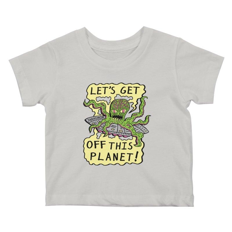 Alien UFO Escape Kids Baby T-Shirt by James A. Roberson (JARHUMOR)