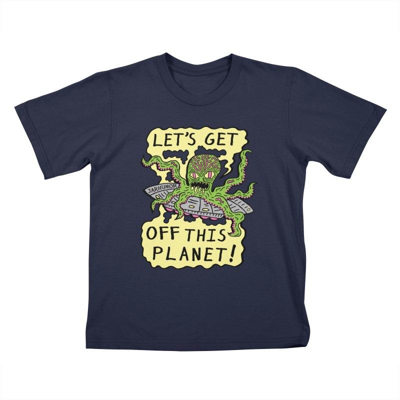 Alien UFO Escape Kids T-Shirt by JARHUMOR