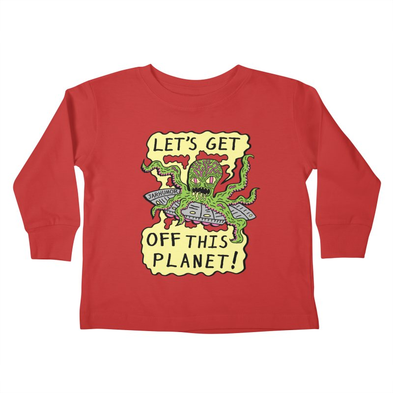 Alien UFO Escape Kids Toddler Longsleeve T-Shirt by James A. Roberson (JARHUMOR)