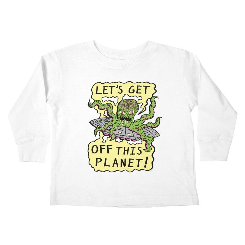 Alien UFO Escape Kids Toddler Longsleeve T-Shirt by JARHUMOR