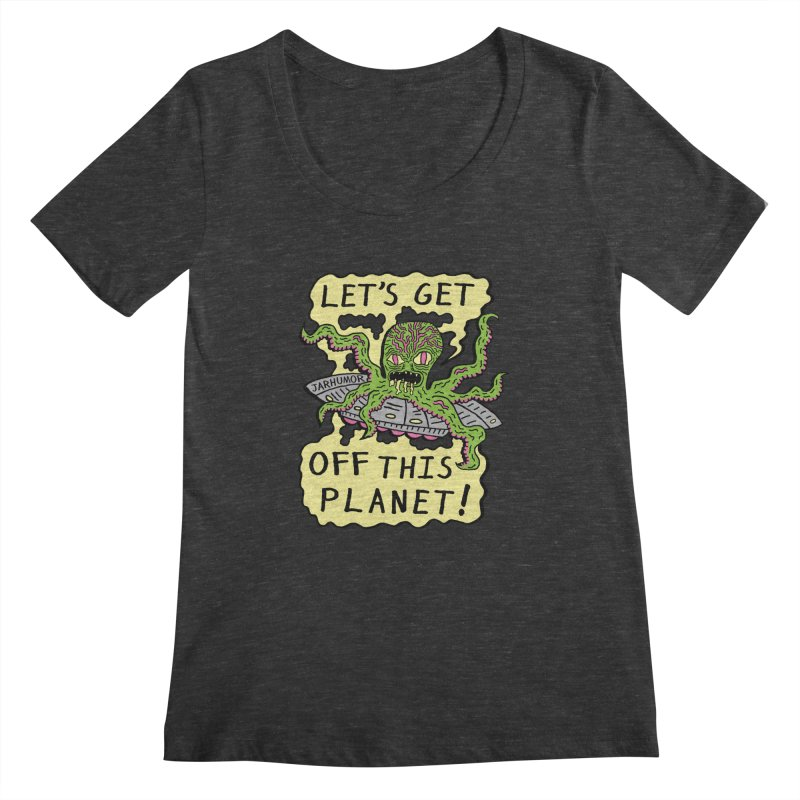 Alien UFO Escape Women's Scoopneck by James A. Roberson (JARHUMOR)