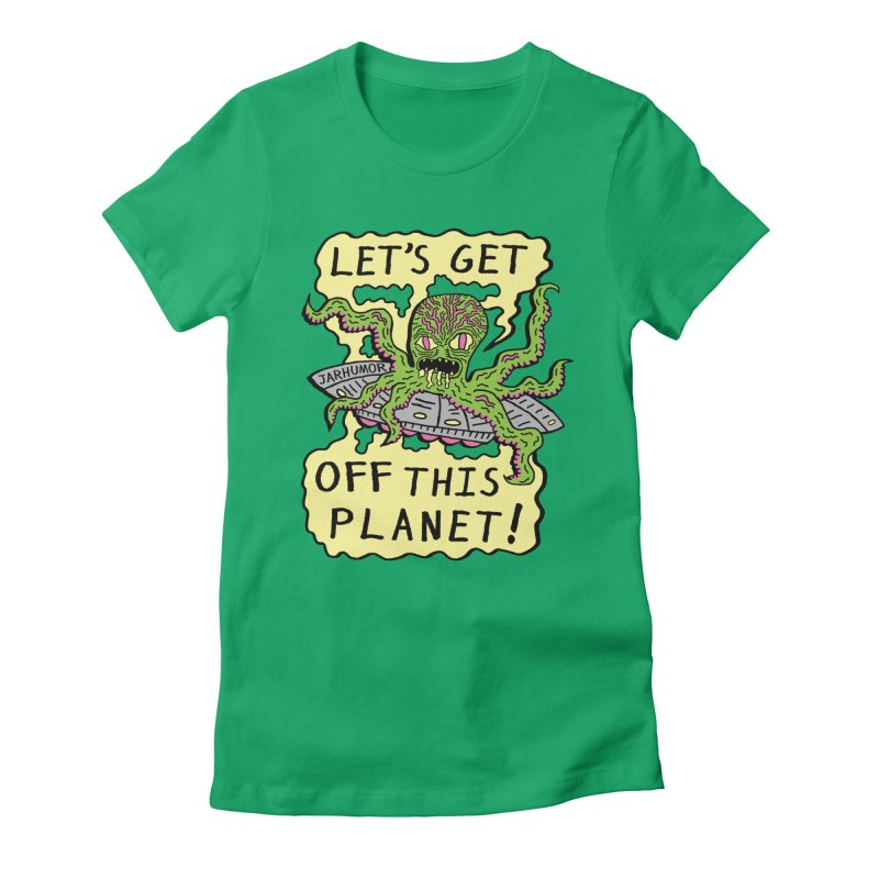 Alien UFO Escape Women's Fitted T-Shirt by JARHUMOR