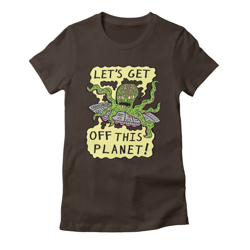 Alien UFO Escape Women's Fitted T-Shirt by James A. Roberson (JARHUMOR)
