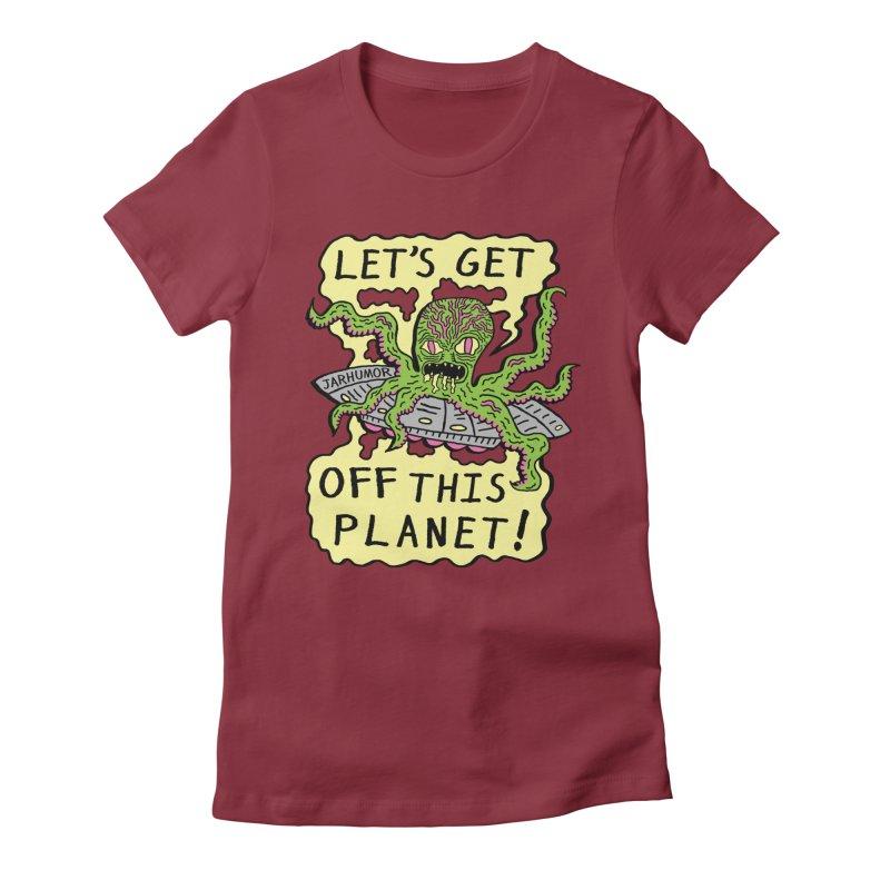 Alien UFO Escape Women's Fitted T-Shirt by JARHUMOR
