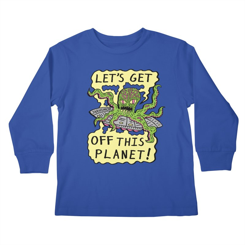 Alien UFO Escape Kids Longsleeve T-Shirt by JARHUMOR