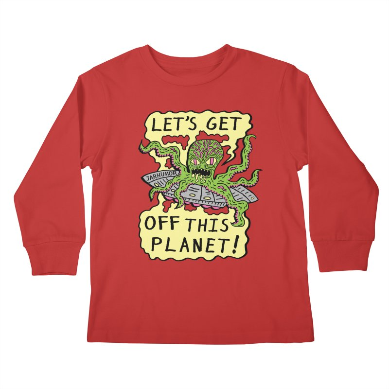 Alien UFO Escape Kids Longsleeve T-Shirt by James A. Roberson (JARHUMOR)