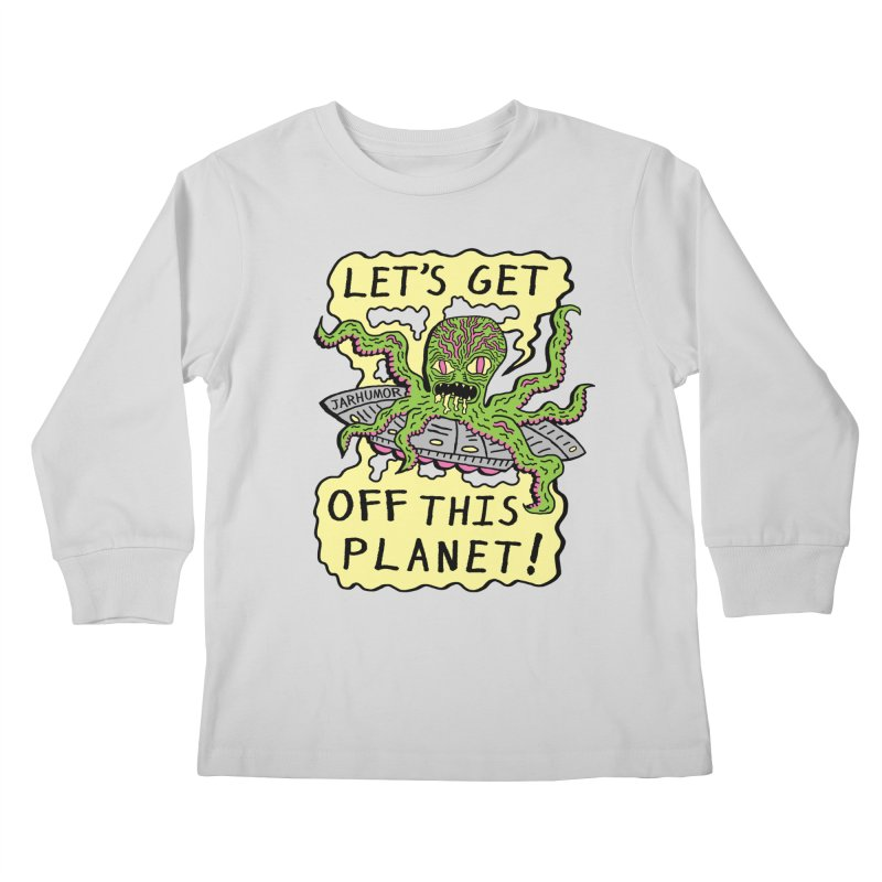 Alien UFO Escape Kids Longsleeve T-Shirt by James A. Roberson (JARHUMOR)