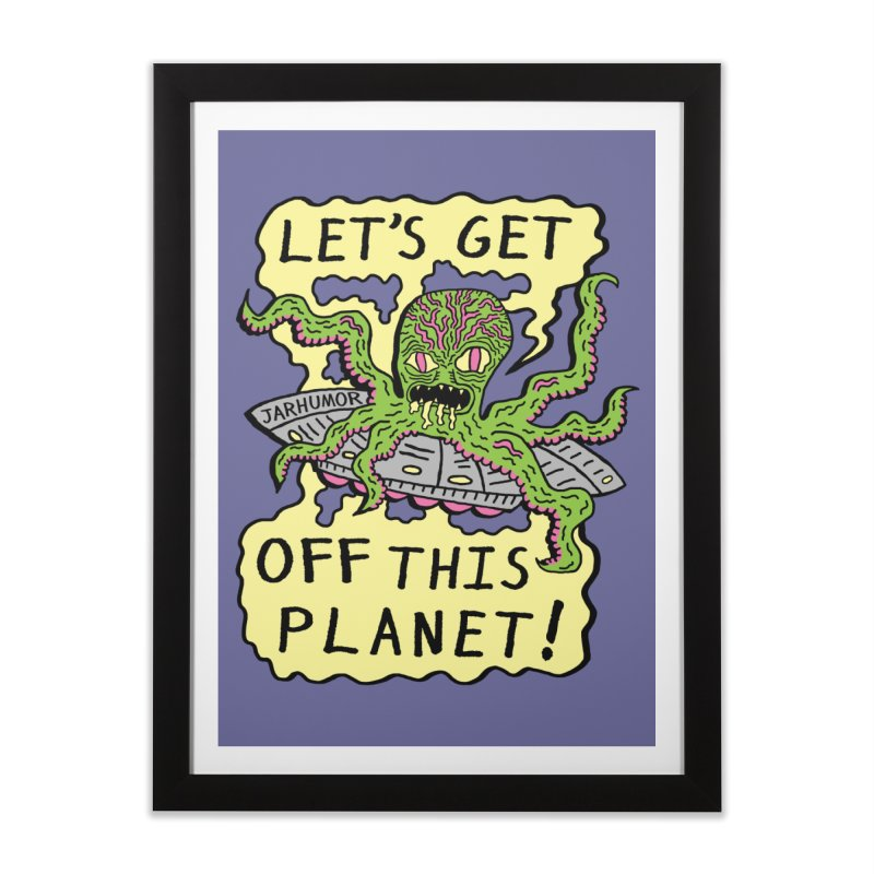 Alien UFO Escape Home Framed Fine Art Print by JARHUMOR