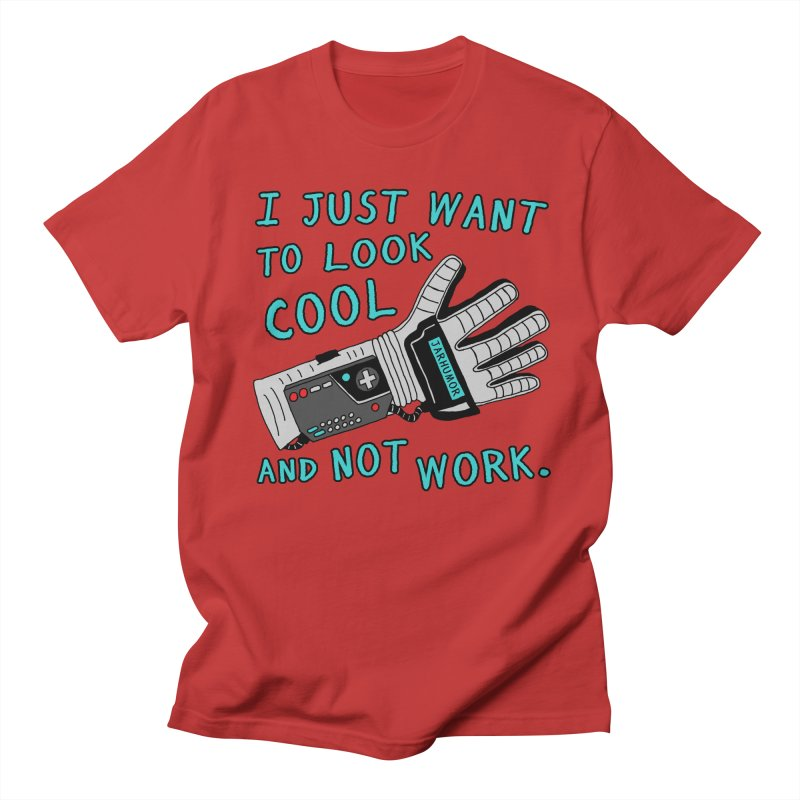 Look Cool Not Work (Power Glove) in Men's Regular T-Shirt Red by JARHUMOR