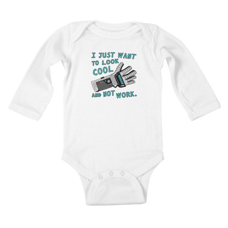 Look Cool Not Work (Power Glove) Kids Baby Longsleeve Bodysuit by JARHUMOR