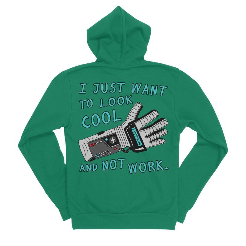 Look Cool Not Work (Power Glove) Men's Sponge Fleece Zip-Up Hoody by JARHUMOR