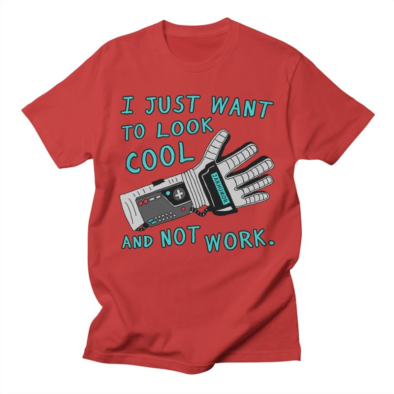 Look Cool Not Work (Power Glove) in Men's Regular T-Shirt Red by JARHUMOR