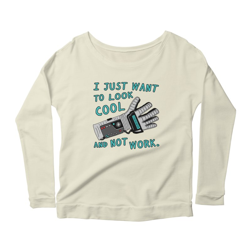 Look Cool Not Work (Power Glove) Women's Scoop Neck Longsleeve T-Shirt by JARHUMOR