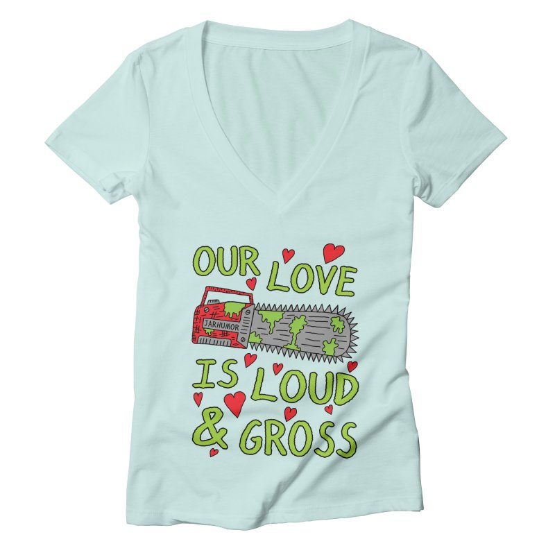 Chainsaw Love Women's Deep V-Neck V-Neck by JARHUMOR