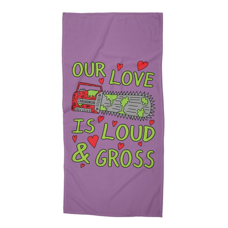 Chainsaw Love Accessories Beach Towel by JARHUMOR