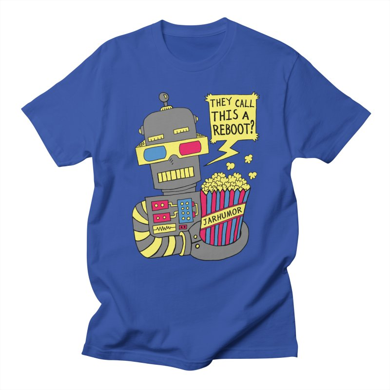 Robot Movie Reboot in Men's T-shirt Royal Blue by James A. Roberson (JARHUMOR)