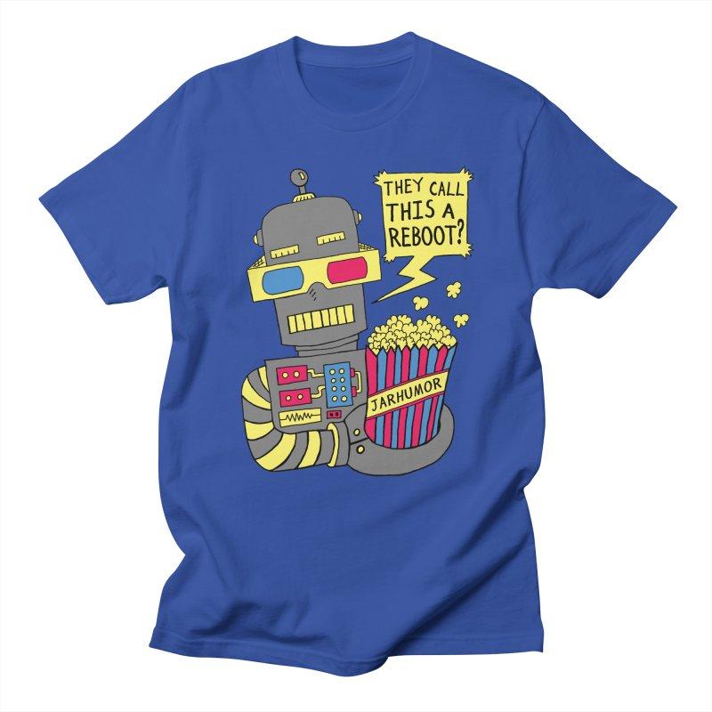 Robot Movie Reboot in Men's T-Shirt Royal Blue by JARHUMOR