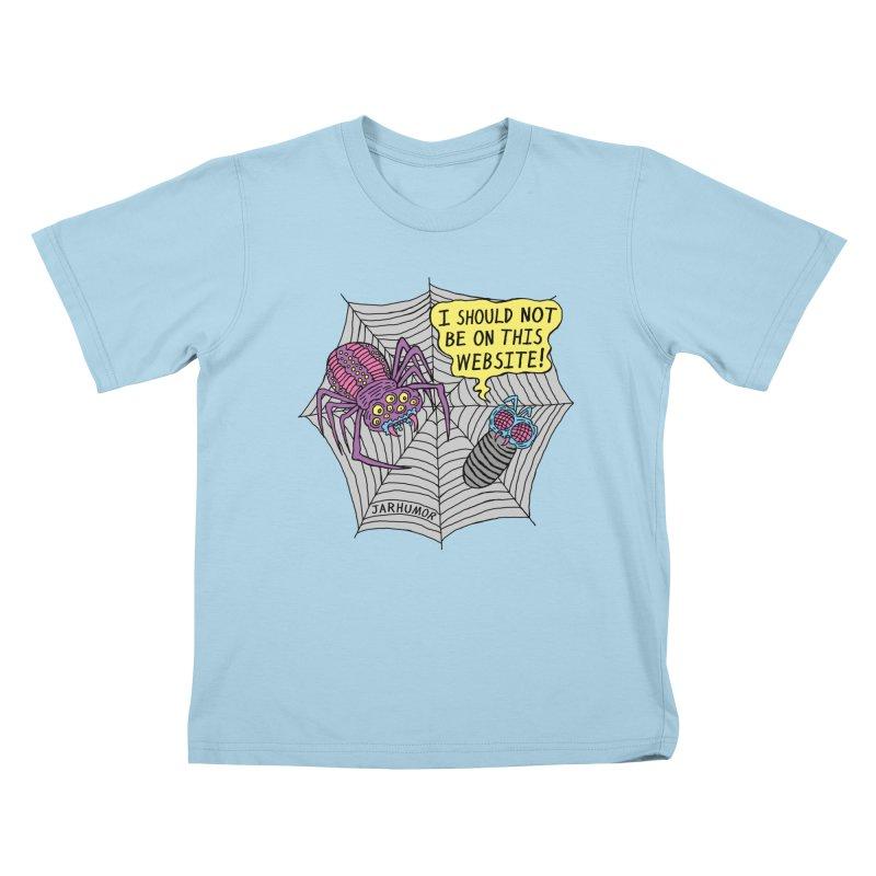 Spider Website Kids T-Shirt by JARHUMOR