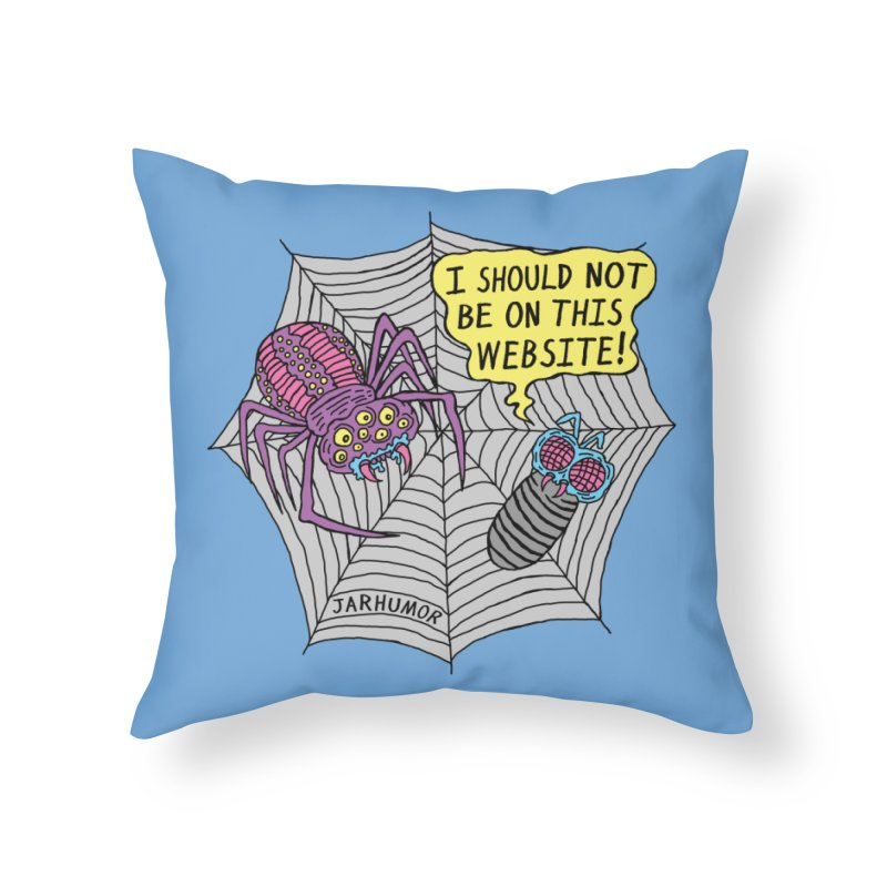 Spider Website Home Throw Pillow by JARHUMOR