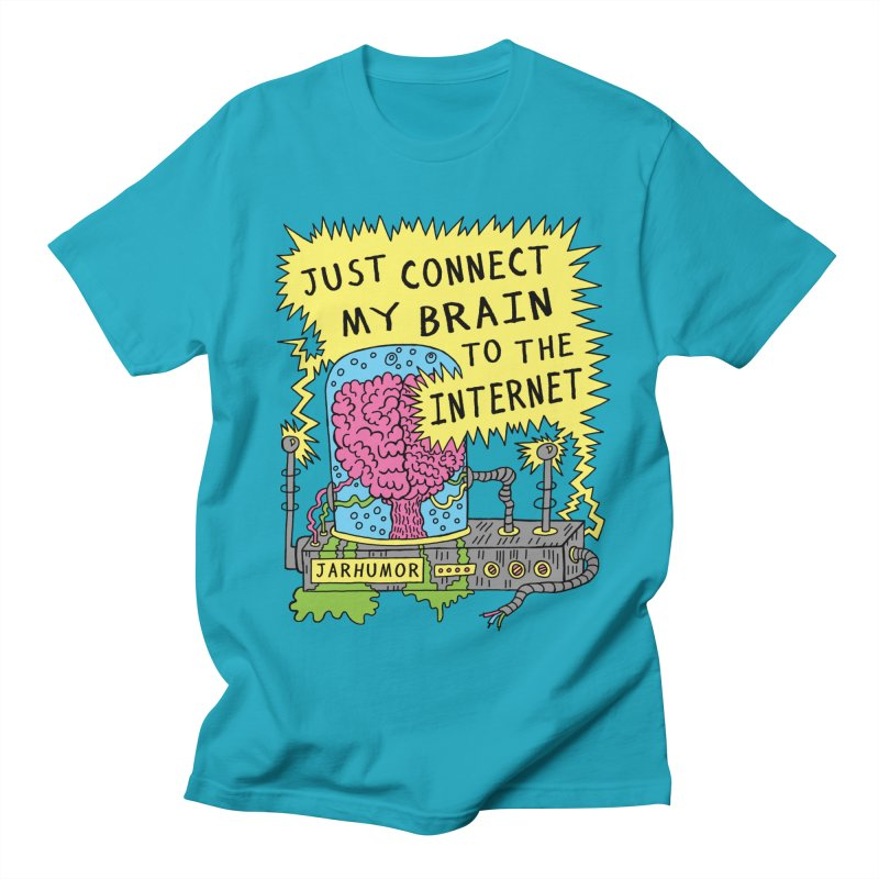 Internet Brain in Men's Regular T-Shirt Cyan by JARHUMOR