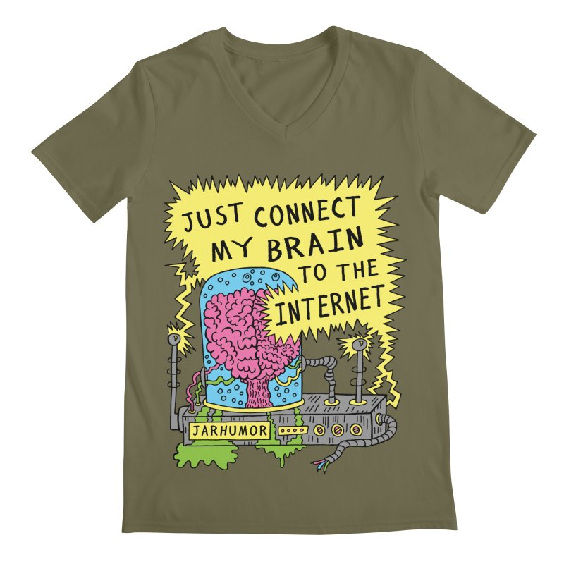 Internet Brain Men's Regular V-Neck by JARHUMOR