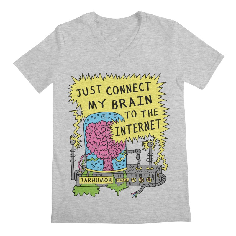 Internet Brain Men's Regular V-Neck by JARHUMOR